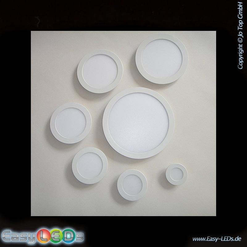 123trading LED Deckeneinbaupanelleuchte rund 12 Watt warm-weiß IP32