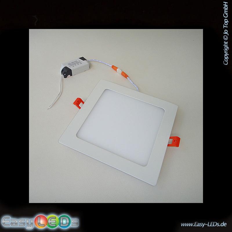 123trading LED Deckeneinbaupanelleuchte eckig 15 Watt warm-weiß IP32