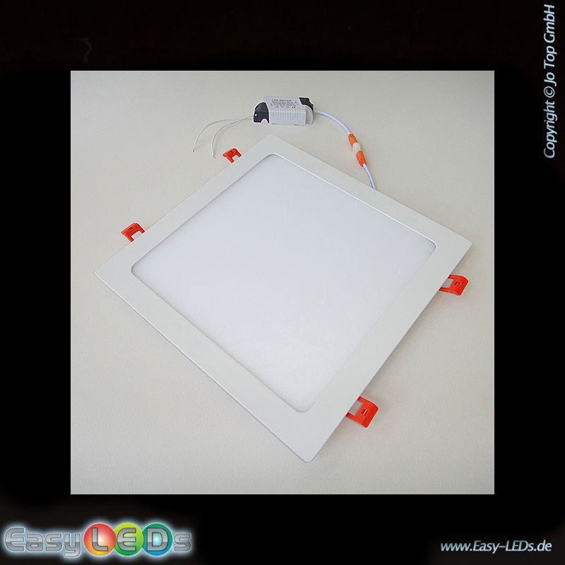 123trading LED Deckeneinbaupanelleuchte eckig 24 Watt warm-weiß IP32