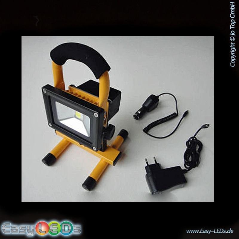 led baustrahler 10 watt wei mit li akku online kaufen. Black Bedroom Furniture Sets. Home Design Ideas